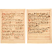 SALE 17th Century Illuminated Gregorian Chant Manuscript Page / Sheet Music