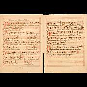 SALE 17th Century Illuminated Gregorian Chant Manuscript Page / Sheet Music