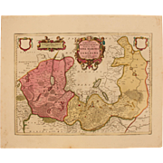 SALE 17th Century Map of New March & Uckermark in Brandenburg Germany (OLAUS JOANNIS GOTHUS)