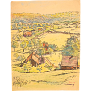 SALE 1910's Original Art Nouveau Ink & Watercolor Painting of German Landscape by Franz ...