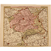 SALE 17th Century Antique map of South Flanders - Belgium - by Visscher N. II (1695)