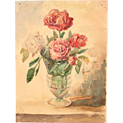 """Vase of Roses"" - 19th Century Impressionism Still Life by ""Müller"" / Aqu"