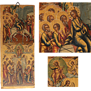 19th century Piece of a Russian Icon depicting Palm Sunday & Ascension of Christ