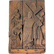 SALE 19th Century Wood carved 4th Station of the Cross (Jesus meets his mother)