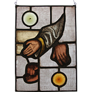 "SALE ""Sacred Hands"" Stained Glass Panel with original 18th Century Baroque Fragments"