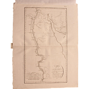 "SALE 1802 Original Copper Engraving Map of Upper Egypt from ""Napoleons Travels to Egypt"""