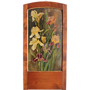 "SALE Art Nouveau Oil Painting ""Bearded Irises"" in beautiful wood frame"