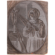 19th Century Printing Block / Cliché of a Saint Gertrude of Nivelles - from Bavaria - ...