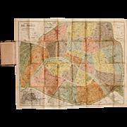 SALE Art Nouveau Pocket / Folding Map of Paris including Metro / Subway Plan