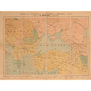 "SALE 19th Century Map of the Russo-Turkish War in 1877 - Lithography ""Mapa del teatro ..."