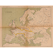 SALE 19th Century Map of Europe - Lithography of Military Regions of Europe