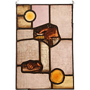 "SALE ""Two Sacred Hands"" Stained Glass Panel with original 18th Century Baroque Fragm"