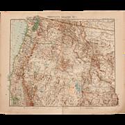 SALE Art Nouveau Map of the North West USA incl. San Francisco, Salt Lake City ...