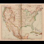 SALE Art Nouveau Map of the USA, Mexico, Jamaica & Cuba (Stieler 1903)