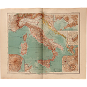 SALE Art Nouveau Map of Italy with 5 detailed maps (Stieler 1904)