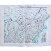SALE Art Nouveau Map of the North East USA incl. New York, Boston, Philadelphia, Washington ..