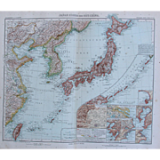 SALE Art Nouveau Map of Japan, Korea, Taiwan, East China and More (Stieler 1902)