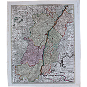 SALE 17th Century Antique map of Alsace, Breisgau and Baden with the Rhine River - Germany ...