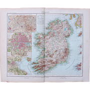 SALE Art Nouveau Map of Ireland with additional detailed maps of London, Dublin & Area around