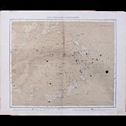 SALE Art Nouveau Northern Map of the Stars /  Star Chart  (Stieler 1905)