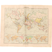 Art Nouveau Map of the World - World Map (Stieler 1905)