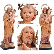 SALE 18th Century Sculpture of St. Joseph with Jesus Child - Wood Carved Polychrome Baroque ..