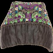 """19th Century Antique Silk & Hand Beaded Hood / Hat / Bonnet / Cap """"Stülpchen"""" f"""