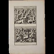 18th Century Copper Engraving of an Ancient Battle Scene from L'antiquité expliquée et ...