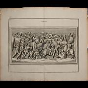 18th Century Copper Engraving of an Ancient Combat Scene from L'antiquité expliquée et ...
