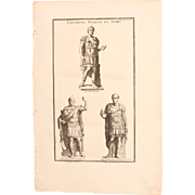 18th Century Copper Engraving of Roman Emperors in Arms from L'antiquité expliquée et ...