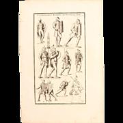 18th Century Copper Engraving of Ancient Roman legionnaires from L'antiquité expliquée et ..