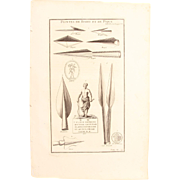 18th Century Copper Engraving of Ancient Arrow- and Spearheads from L'antiquité expliquée et