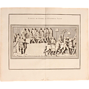 "18th Century Copper Engraving of ""Council of War of Emperor Trajan"" from L'antiquitÃ"