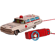 Rare 1960's CADILLAC Ambulance Tin Car Toy by YONEZAWA - Made in Japan Battery Operated ...