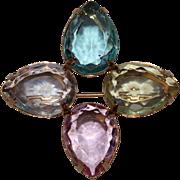 Vintage Avon Signed Four Teardrop Pastel Stone Pin Brooch Retro Costume Jewelry