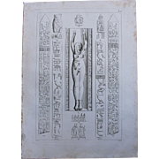 1802 Original Copper Engraving of Hieroglyphs & a Statue from Napoleons Travels to Egypt  ...