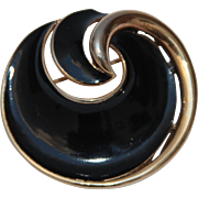 Vintage Signed Trifari Enamel Black Gold tone Swirl Shell Brooch Pin