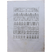 "1802 Original Copper Engraving ""Different emblematic Reliefs"" from Napoleons Travels"