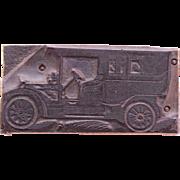 1910's Printing Block / Cliché of Classic Car - Wood Engraving
