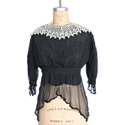 SALE Victorian Black Silk & Lace Blouse