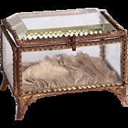 SALE Belle Epoque French Ormolu Beveled Glass Jewelry Box