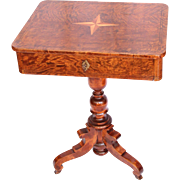 SALE Original Biedermeier Sewing Desk / Side Table - 1830's German Cherry Wood Veneer Sewing .