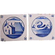 SALE 18th century Set of two Dutch Delft Tiles - Blue and White Pottery Tiles with ...