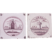 18th century Set of two Dutch Delft Tiles - Purple and White Pottery Tiles with Houses