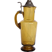 SALE 19th Century Belle Epoque Large Pitcher - Glass with Pewter Lid