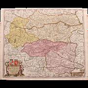 SALE 17th Century Antique Baroque Map of Northern Austria by Frederick de Witt