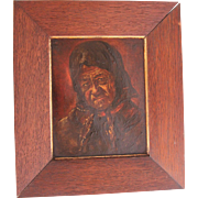 """SALE 19th Century Oil Painting """"Old Lady"""" by Else Dassel"""