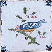 SALE 17th century Dutch Delft Polychrome Pottery Tile with tropical Bird
