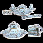SALE Art Nouveau Hand Painted Porcelain Desktop Stationery Set by Fraureuth - 1907 Inkwell, ..
