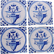 SALE 19th century Set of four Dutch Delft Tiles - Blue and White Pottery Tiles with ...